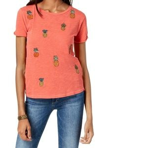 Lucky Brand Small Orange Scoop Neck Pineapple Top